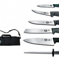 Victorinox 7-Piece Fibrox Handle Cutlery Set With Black Canvas Knife