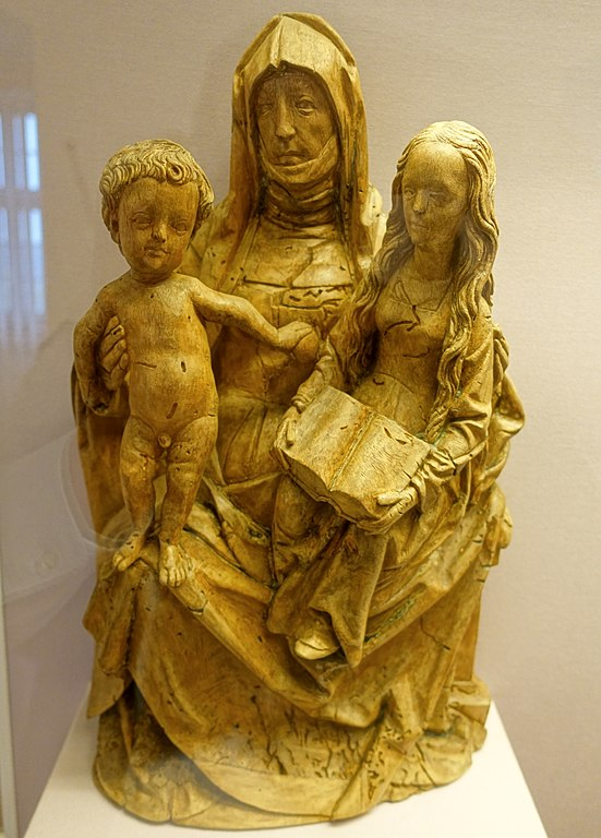 wood sculpture of the virgin child and saint anne